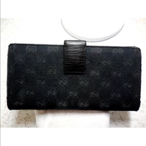 54c9c2a04bde Gucci GG Sherry Line Bifold Long Wallet Denim 100 Authentic Gucci